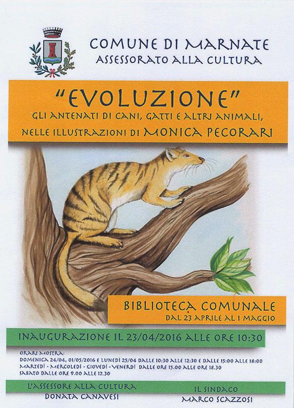 locandina mostra Evoluzione... nelle illustrazioni di Monica Pec